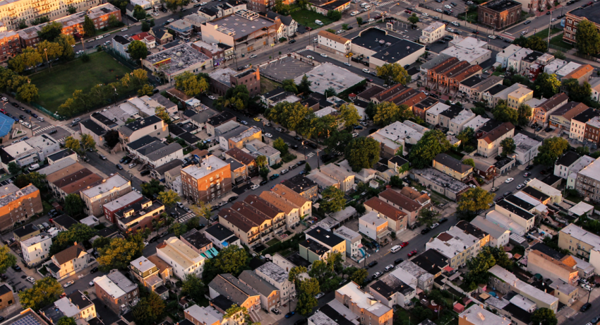 An aerial view of a neighborhood to illustrate an article about finding a neighborhood that suits you.